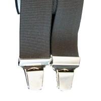 Bretelle Unie Noire largeur 3,5 cm longueur 110 cm réglable.Forme X 4 pinces en nickel