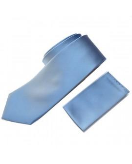Cravate unie Ciel et sa pochette