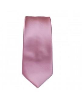 Cravate unie Rose et sa pochette