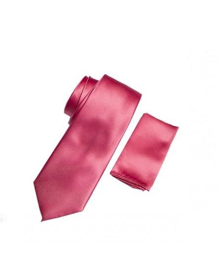 Cravate unie Fuschia et sa pochette