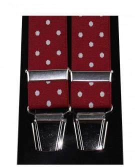 Bretelle homme rouge pois blanc 4 pinces