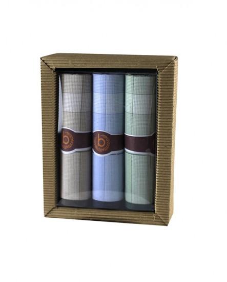 Mouchoir en tissu motif carreaux bleu vert marron (lot de 3)