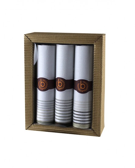 Mouchoir  en tissu blanc bande marron (lot de 3)