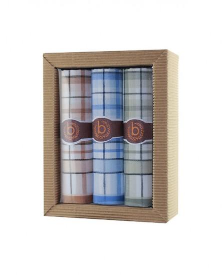 Mouchoir  en tissu motif carreaux bleu vert marron (lot de 3