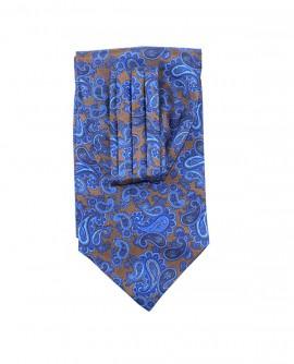 Ascot en soie à motif  cachemire bleu marron