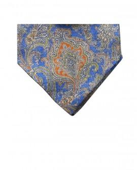 Ascot en soie à motif cachemire bleu et orange