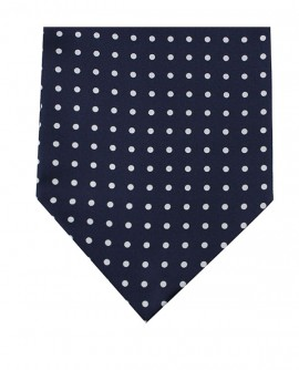 Ascot en soie à pois bleu marine