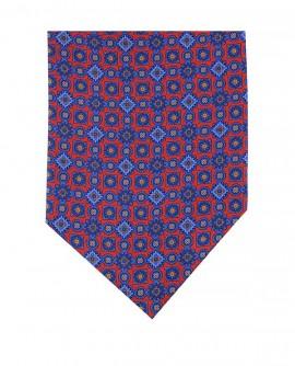 Ascot en soie à motif géométrique bleu rouge