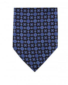 Ascot en soie motif géométrique bleu