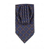 Ascot en soie imprimé bleu