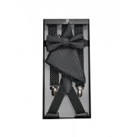 Coffret bretelles +  noeud papillon + pochette noir / à pois gris
