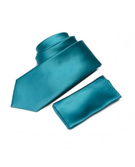 Cravate unie Turquoise et sa pochette
