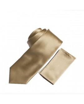 Cravate unie Beige et sa pochette
