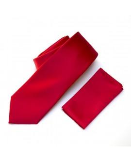 Cravate unie Rouge et sa pochette