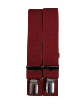 Bretelle homme 4 pinces rouge à petit pois noir