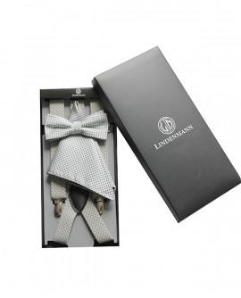 Bretelles et noeud papillon et pochette gris / à pois noir