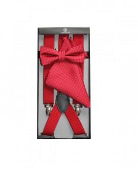Ensemble bretelles et noeud papillon et pochette rouge / à pois noir